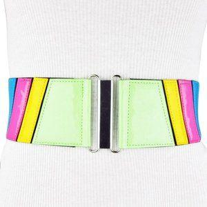 BCBG Black Wide Stretch Green Pink Blue Black Belt